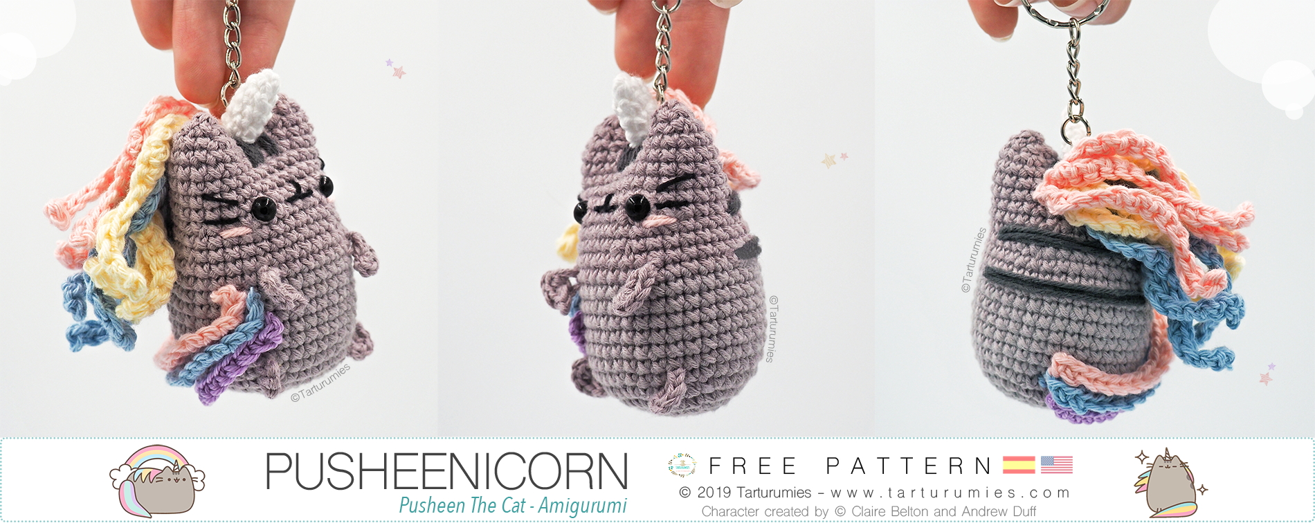 Kawaii unicorn keychain Amigurumi keychain animal Crochet | Etsy | 756x1900